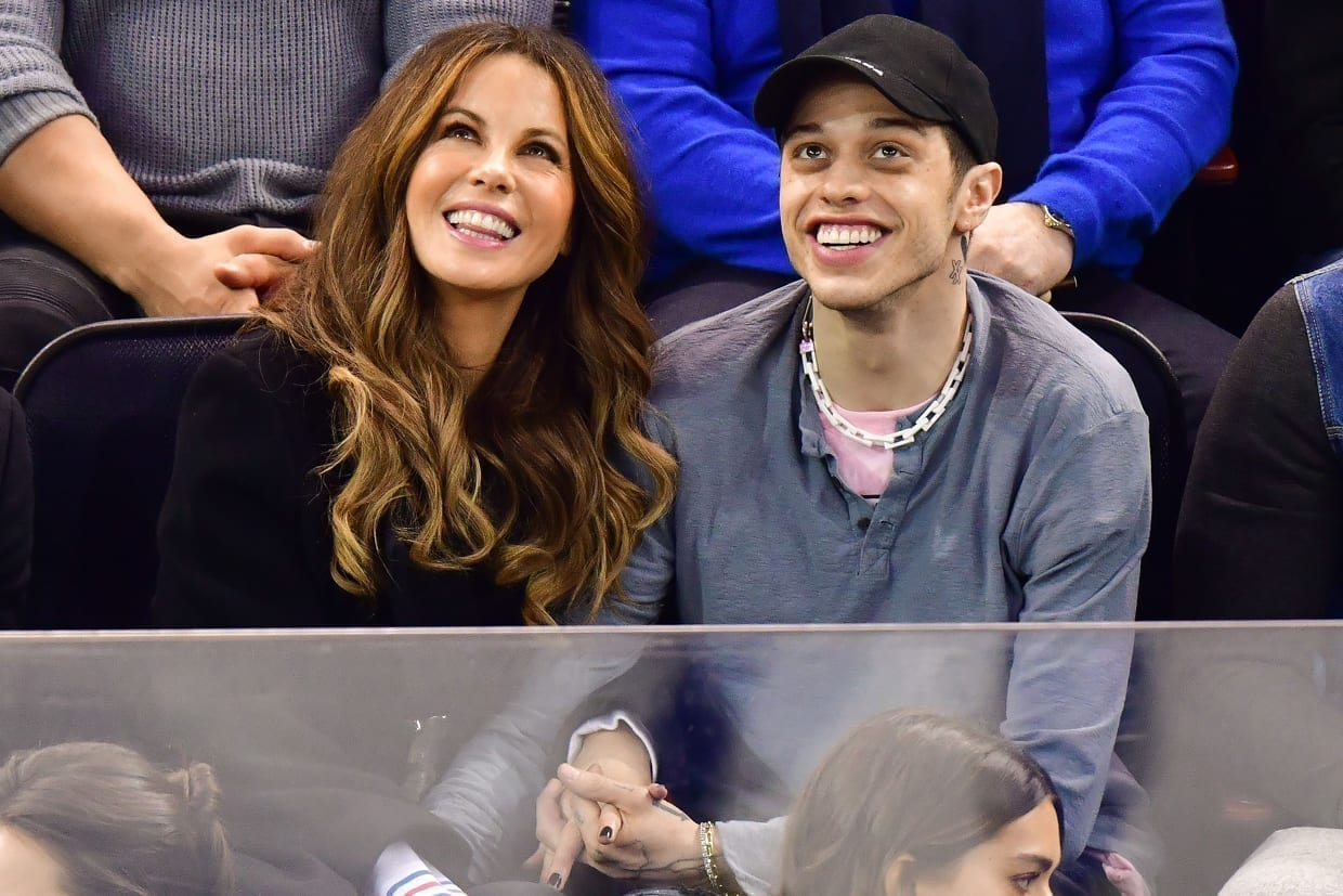 Kate Beckinsale and Pete Davidson at the New York Rangers game in New York City, March 3, 2019.