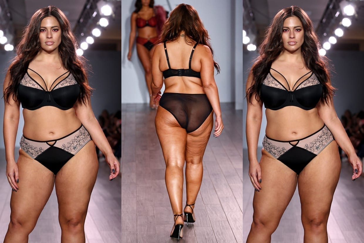 Ashley Graham walks down a runway for a fashion show in New York City, Sept. 14, 2016.