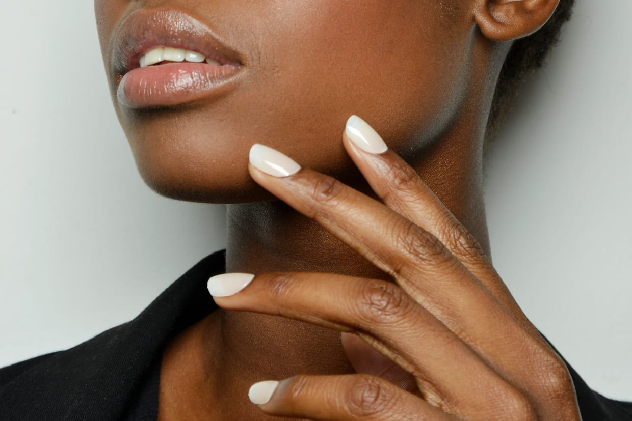 Close up of a model's nails backstage at the Ermanno Scervino fashion show in Milan, Sept. 26, 2015.