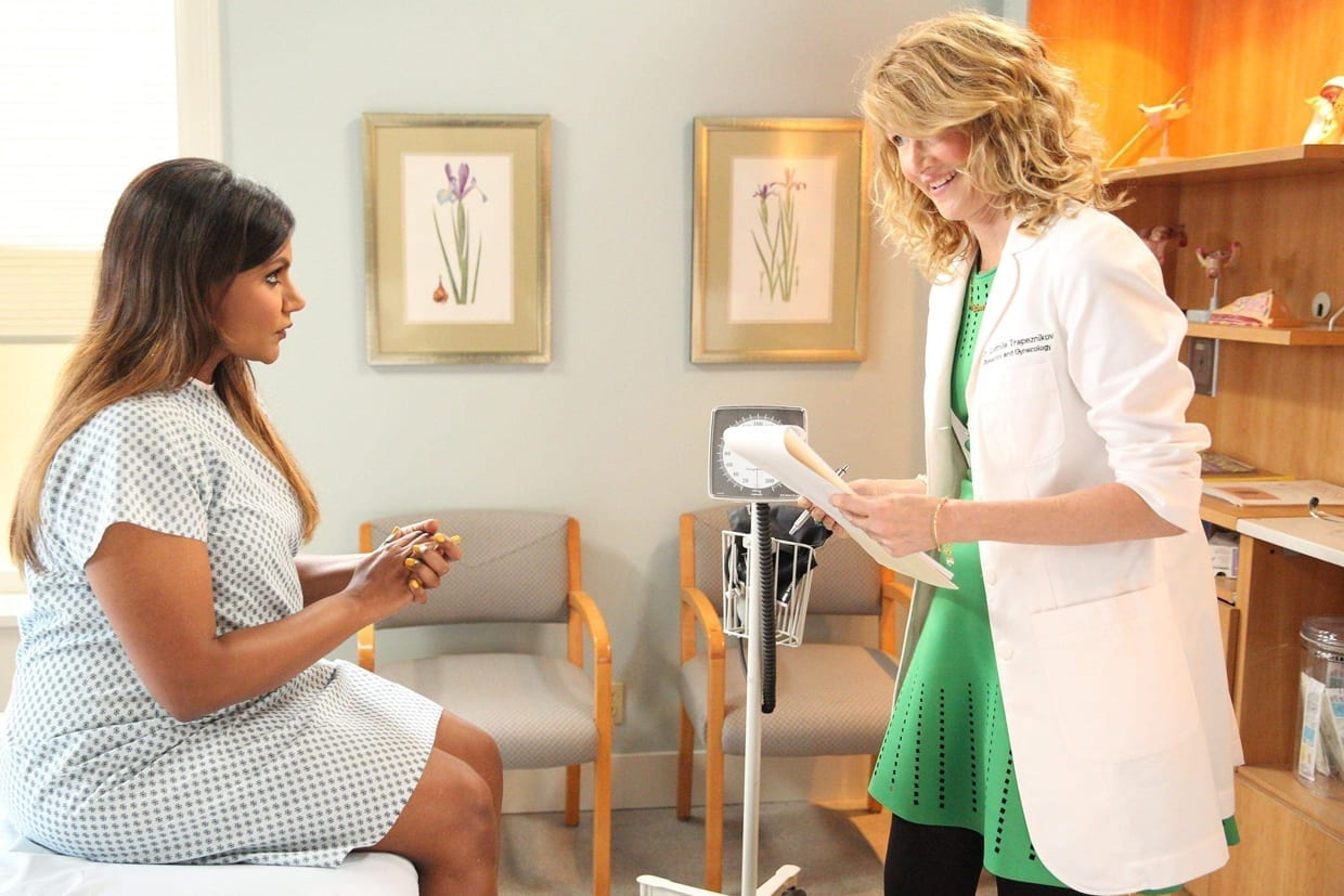 Mindy Kaling and Laura Dern in a scene from The Mindy Project.