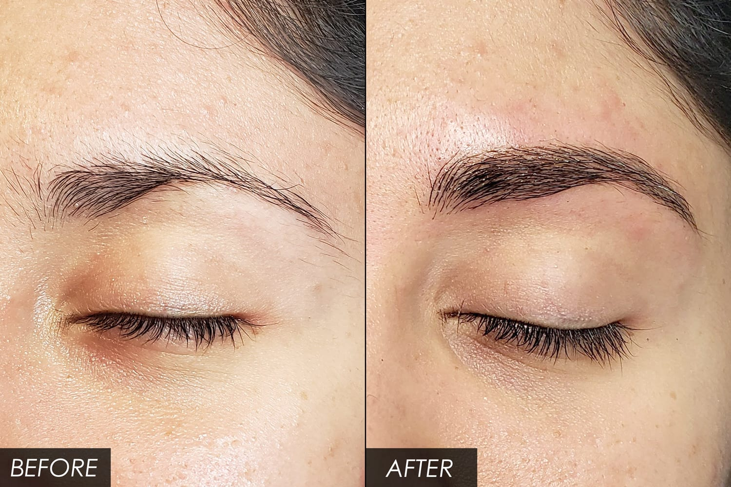 A closeup of a woman's eyebrows before and after a microblading session.